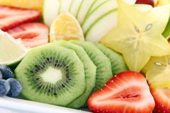 Fresh sliced fruit Royalty Free Stock Photos