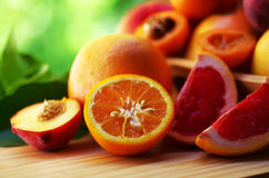 Fresh sliced fruits Stock Images