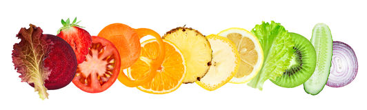 Fresh sliced of fruits and vegetables Stock Photography