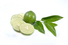 Fresh sliced green lemon Royalty Free Stock Photos