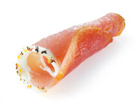 Fresh sliced ham with spice on a white background Stock Photo
