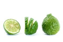 Fresh Sliced Kaffir Lime, Isolated on White Stock Photo