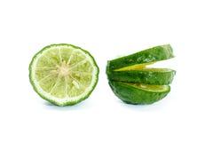 Fresh Sliced Kaffir Lime, Isolated on White Stock Image