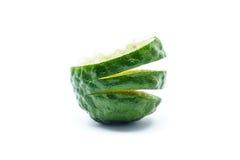 Fresh Sliced Kaffir Lime, Isolated on White Royalty Free Stock Photo