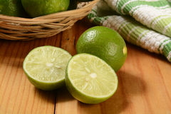 Fresh sliced key limes Stock Photos