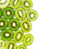 Fresh sliced kiwi fruit on white background. Space for text Stock Photos