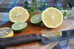 Fresh sliced lemon on cutting board Royalty Free Stock Photo