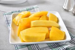 Fresh sliced mango Stock Photos