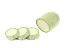 Fresh sliced marrow vegetable. Isolated on a white background Royalty Free Stock Photo