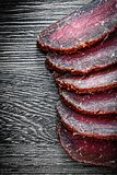 Fresh sliced meat on wooden board food concept Stock Photography