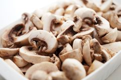 Fresh sliced mushrooms Royalty Free Stock Images