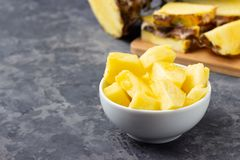 Fresh sliced pineapple on table royalty free stock photos