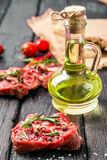 Fresh sliced raw meat on a wooden cutting board Stock Photos
