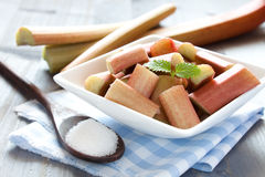 Fresh sliced rhubarb Stock Images