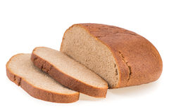 Fresh sliced rye bread loaf isolated on white background cutout. Royalty Free Stock Photography