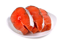 Fresh sliced salmon fish. Isolated over white background Royalty Free Stock Image