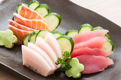Fresh sliced sashimi Stock Images