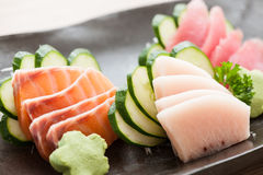 Fresh sliced sashimi Stock Photos