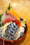 Fresh sliced sashimi set, Japanese food.  royalty free stock photo