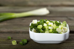 Fresh sliced scallions Stock Photography