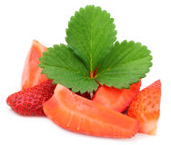 Fresh Sliced Strawberry with green leaf Royalty Free Stock Photos