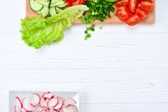 Fresh sliced vegetables on a salad: radish, cherry, greens, cucumber, red pepper. stock photography