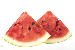 Fresh sliced watermelon pieces isolated on white Royalty Free Stock Photography