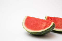 Fresh sliced watermelon. Ripe ready to eat on white background royalty free stock photos