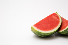 Fresh sliced watermelon. Ripe ready to eat on white background stock photography