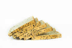 Fresh sliced wholewheat bread with various seeds and multigrain. On  white background Stock Photography