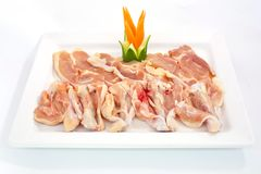 Fresh slices of chicken isoloate on white background ready to be Stock Photography