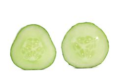 Fresh slices of cucumber on white background Stock Photos