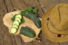 Fresh slices eco cucumbers Stock Photography
