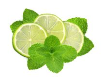 Fresh slices lime with leaf mint Stock Photos
