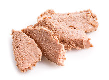 Fresh slices of Liver pate isolated on white Royalty Free Stock Image