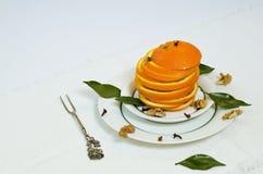 Fresh slices of orange. Fresh juicy slices of orange on the plate Stock Photography