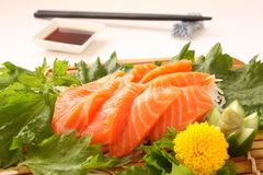 Fresh Slices of Raw Salmon Sashimi, Japanese Food. Japanese food Sashimi; fresh slices of raw fish Stock Images
