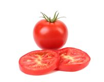 Fresh slices of tomato and entire potato Royalty Free Stock Photo