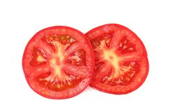 Fresh slices tomato on white background Royalty Free Stock Photo
