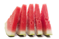Fresh slices of watermelon. Five pieces of watermelon isolated over white Royalty Free Stock Image