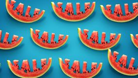 Sale concept. Fresh slices of watermelon on blue background. Word SALE  carved in every piece stock illustration