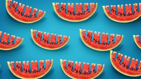 Summer concept. Fresh slices of watermelon on blue background. Word Summer  carved in every piece vector illustration