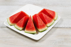 Fresh Slices of Watermelon on Plate Stock Image