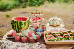 Fresh slices of watermelon on the wooden table. Table with snacks, drinks, cocktails of watermelon Royalty Free Stock Photo