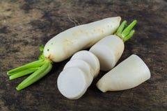 Fresh slices white radish , healthy vegatable Stock Photos