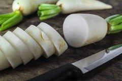 Fresh slices white radish , healthy vegatable Royalty Free Stock Image