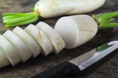 Fresh slices white radish , healthy vegatable Stock Photo