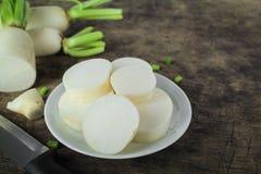 Fresh slices white radish , healthy vegatable Royalty Free Stock Photos