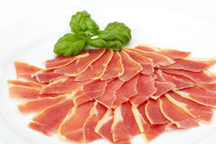 Fresh slide prosciutto Stock Photos