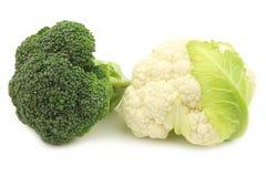 Fresh small cauliflower and broccoli Stock Photos